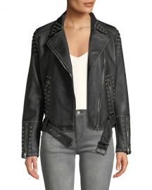 dex Studded Asymmetric Belted Moto Jacket at Last Call