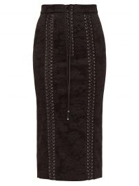 dolce gabbana Lace-up floral-jacquard pencil skirt at Matches