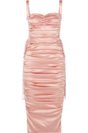 dolce gabbana Lace-up ruched stretch-silk satin midi dress at Net A Porter