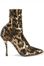 dolce gabbana Lori leopard-print sequined mesh sock boots at The Outnet