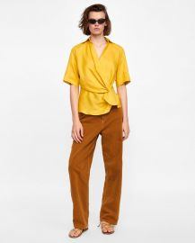 draped linen top at Zara