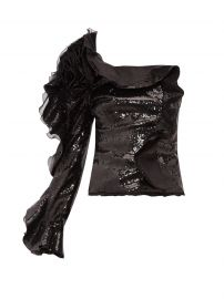 dundas One-sleeve ruffle-trimmed sequinned top at Matches