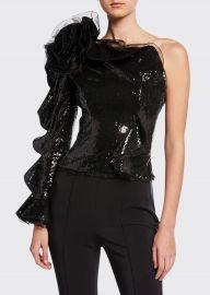 dundas Ruffled One-Shoulder Sequin Top at Bergdorf Goodman