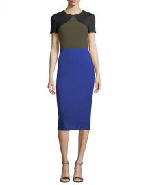 dvf Short-Sleeve Colorblocked Tailored Midi Dress at Neiman Marcus