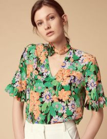 eda Floral-Print Silk Choker Top by Sandro at Sandro