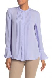 elie tahari Paige Pintuck Long Sleeve Silk Blouse at Nordstrom Rack