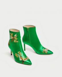 embroidered satin high heel ankle boots at Zara