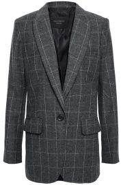 equipment james checked wool-blend twill blazer at The Outnet