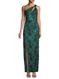 etallic Jacquard One-Shoulder Gown by Aidan Mattox at Saks Fifth Avenue