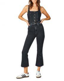 etica Ivy Denim Flare-Leg Overalls at Neiman Marcus