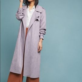 ett twa Harley Faux Suede Trench at Anthropologie