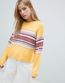 fairisle panel stripe sweater at ASOS