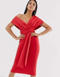 fallen shoulder midi pencil dress with tie detail at Asos