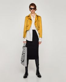 faux suede biker jacket at Zara