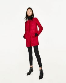 faux suede coat with round neck at Zara