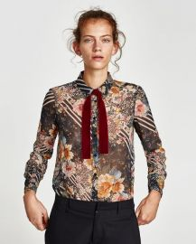 floral patchwork blouse x at Zara