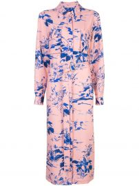 floral belted midi shirt dress at Farfetch
