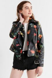 floral moto jacket at Urban Outfitters