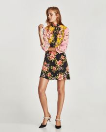 floral patchwork dress at Zara