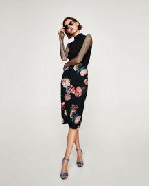 floral print pencil skirt at Zara