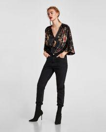 floral velvet bodysuit at Zara