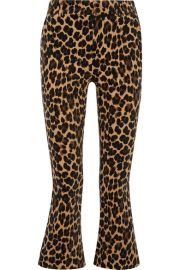 frame Cropped leopard-print cotton-blend velvet flared pants at Net A Porter