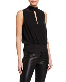 frame Mock-Neck Sleeveless Party Top at Neiman Marcus