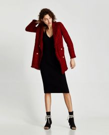 frayed jacket with embellished buttons at Zara