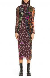fuzzi floral Dot Print Turtleneck Long Sleeve Dress at Nordstrom