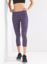 gFast Checkered Jacquard Capris in Pink & Purple Jacquard at Gap