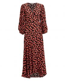 ganni FIERY RED PRINTED WRAP DRESS at Intermix