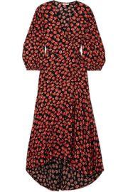 ganni LINDALE FLORAL-PRINT CREPE DE CHINE WRAP DRESS at Net A Porter