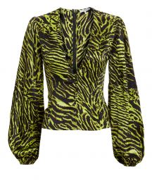 ganni tiger print blouse at Intermix