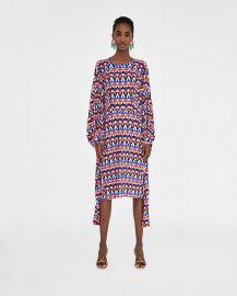 geometric print pleated dress at Zara