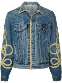 gold piped denim jacket at Farfetch