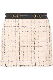gucci EMBELLISHED COTTON-BLEND BOUCLÉ-TWEED MINI SKIRT at Net A Porter