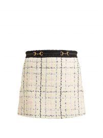 gucci HORSEBIT COTTON-BLEND  tweed skirt at Matches