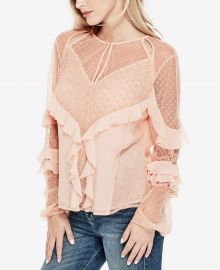 guess Juniper Ruffled Lace Blouse at Macys