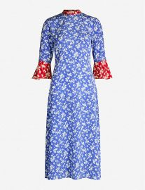 hvn Ashley floral-print flared-hem silk dress at Selfridges