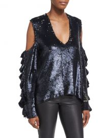 iro Waleast V-Neck Cold-Shoulders Ruffled Sleeves Sequin Top at Bergdorf Goodman