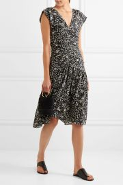 isabel marant Glory ruched printed silk-blend dress at Net A Porter