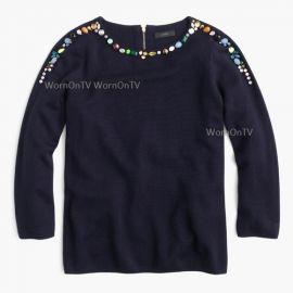 j crew navy jeweled sweater at J.Crew