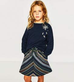jacquard skirt with central cord at Zara