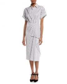 jason wu Short-Sleeve Stripe Cotton Poplin Shirtdress at Bergdorf Goodman