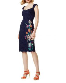 karen millen Embroidered Lace Sheath Dress at Bloomingdales