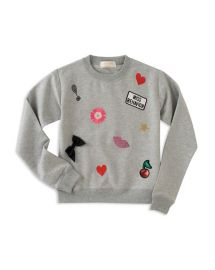 kate spade new york Girls Miss Behavior Sweatshirt with Patches at Bloomingdales