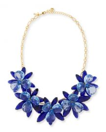 kate spade new york crystal flower statement necklace blue at Neiman Marcus