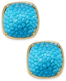 kate spade new york  Gold-Tone Turquoise Square Stud Earrings   Reviews - Fashion Jewelry - Jewelry   Watches - Macy s at Macys
