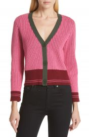 kate spade new york contrast ribbed cardigan   Nordstrom at Nordstrom