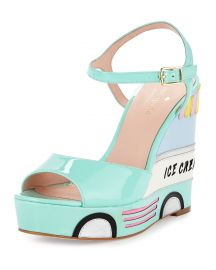 kate spade new york dotty ice cream wedge sandal  mint liqueur at Neiman Marcus
